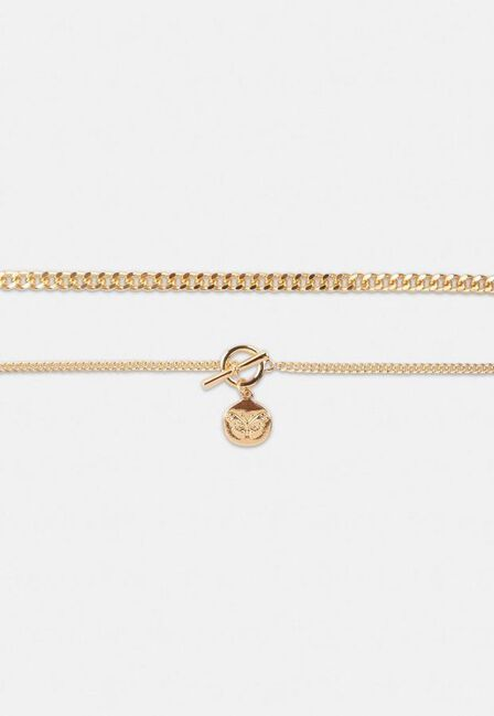 Missguided - Gold Gold Look Butterfly Disc Multi Row Chain Necklace