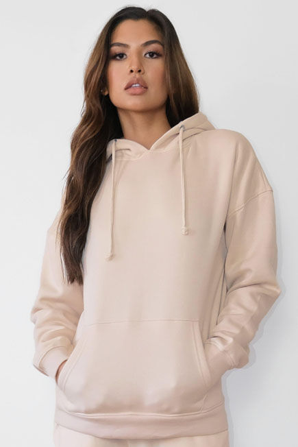 Missguided - Camel Sand Oversized Basic Hoodie