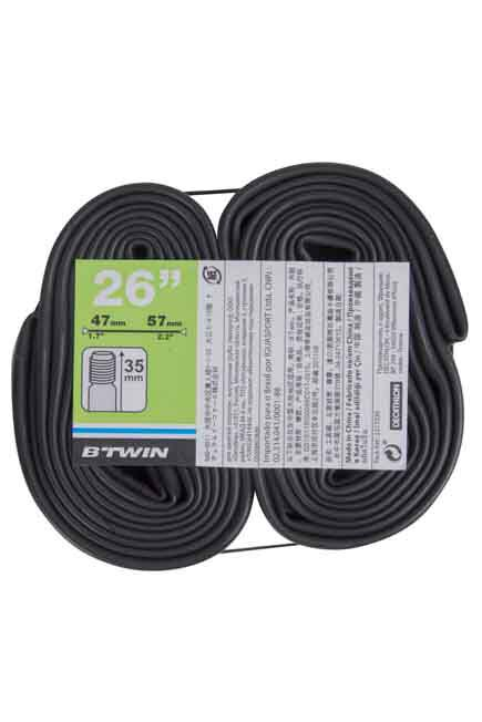 """BTWIN - 26"""" Inner Tube Twin-Pack, Unique Size"""