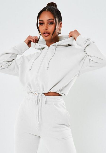 Missguided - White Cropped Hoodie And Joggers Co Ord Set
