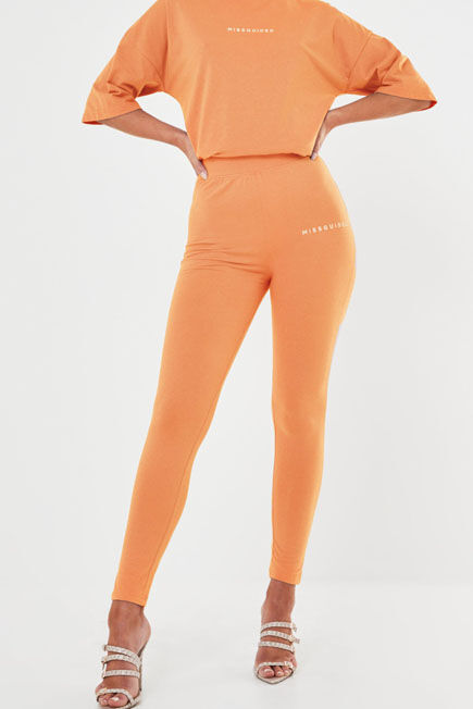 Missguided - Orange Missguided Deep Waistband Leggings