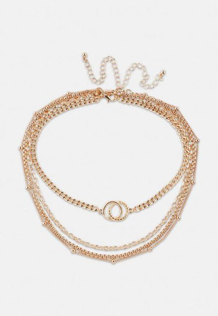 Missguided - Gold Look Layered Choker And Chain Necklaces Multipack
