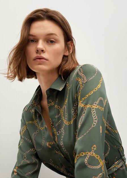 Mango - beige - khaki Printed shirt dress