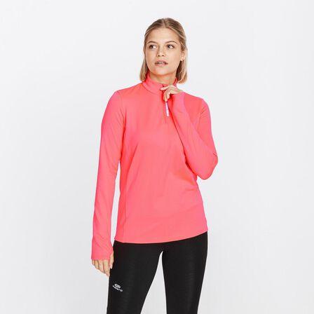 KALENJI - M/L  ZIP RUN WARM WOMEN'S LONG-SLEEVED RUNNING T-SHIRT, Fluo Coral Pink