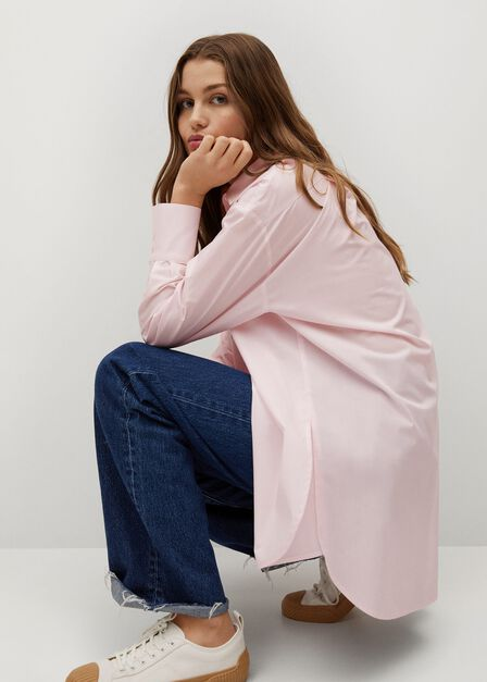 Mango - lt-pastel pink Oversize poplin shirt