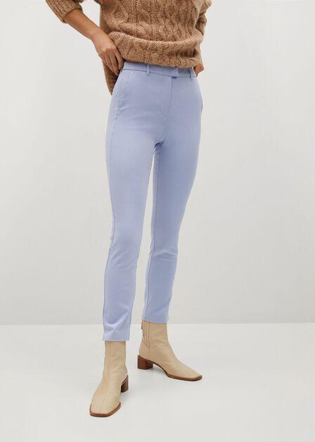 Mango - lt-pastel blue Crop skinny trousers