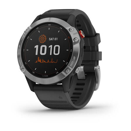 GARMIN - Garmin Fenix 6 Solar 47mm Silver with Black Band
