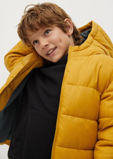 Mango - medium yellow Hood quilted coat