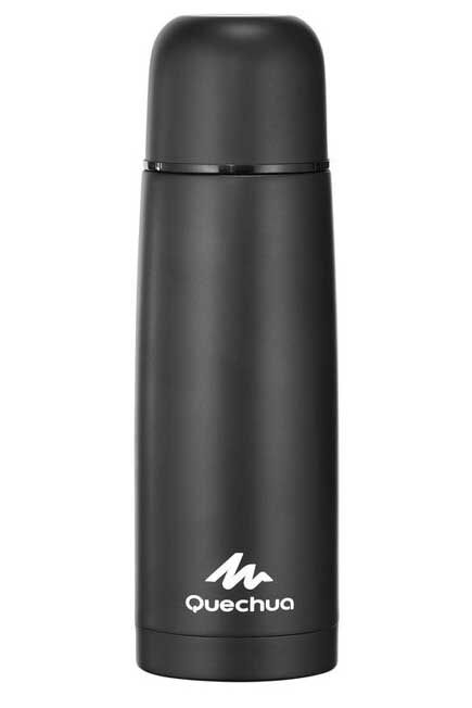 QUECHUA - Unique Size  Stainless steel isothermal hiking bottle 0,7 litre metal, Black