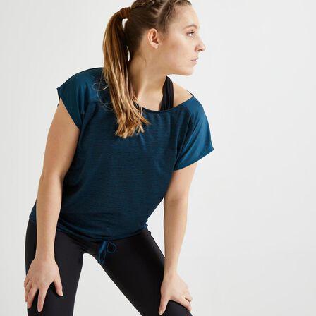 DOMYOS - M/L  Women's Cardio Fitness T-Shirt 120 - /Printed, Dark Blue