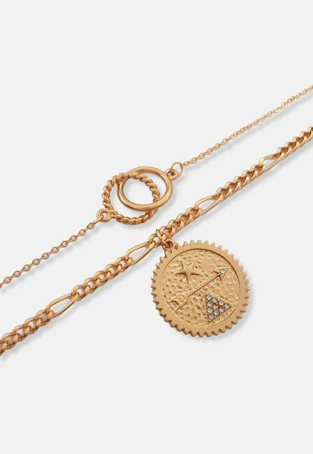 Missguided - Gold Look Circle 2 Row Necklace, Women