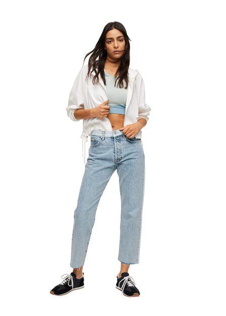 Mango - Open Blue Combined Denim Jeans, Women