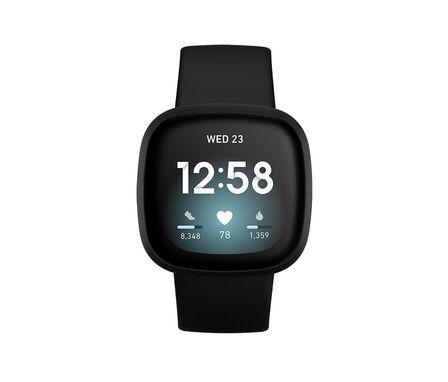 FITBIT - Fitbit Versa 3 Black/Black Aluminum Smart Watch