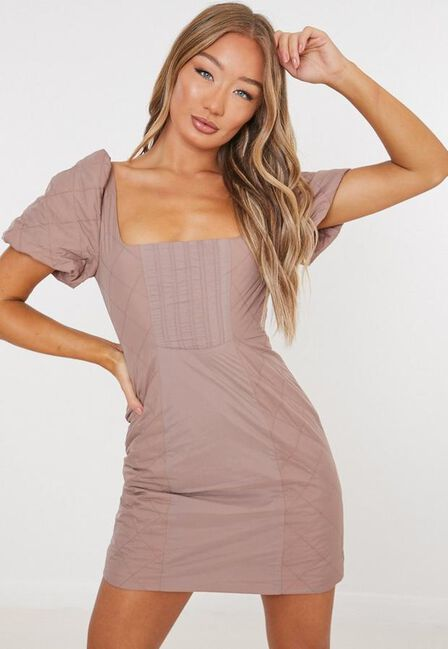 Missguided - Camel Quilted Milkmaid Mini Dress