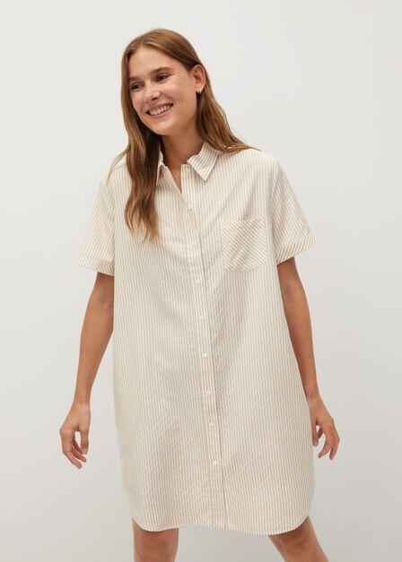 Mango - light beige Striped shirt dress