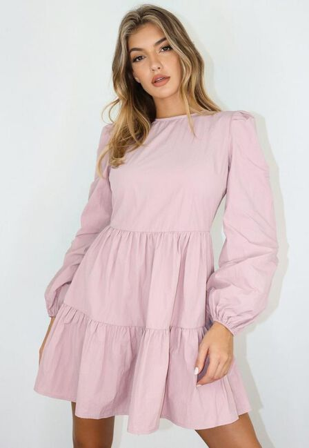 Missguided - Mauve Puff Sleeve Crew Neck Tiered Smock Dress