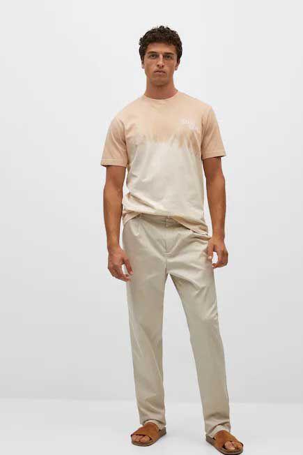 Mango - lt pastel brown Message tie-dye t-shirt, Men