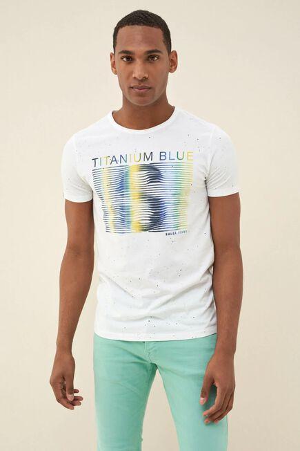 Salsa Jeans - White Microprint cotton t-shirt
