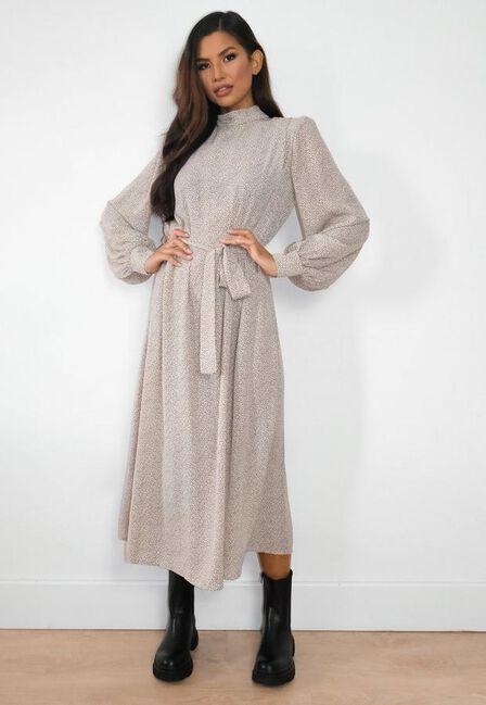 Missguided - Stone Dalmatian Print Shoulder Pad Midaxi Dress