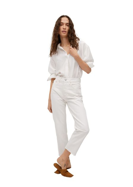 Mango - white Ankle-length straight-fit jeans, Women