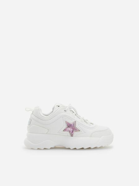 Reserved - Girls' Sports Shoes with Glitter  -  White