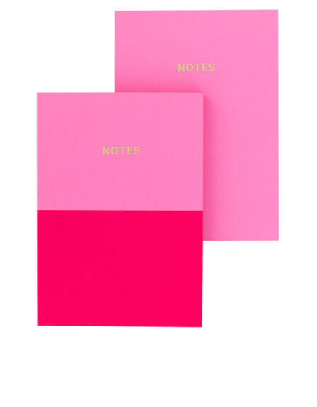 GO STATIONERY - Go Stationery Colourblock Candy/Cerise Pink Duo A6 Set Of 2 Notebooks