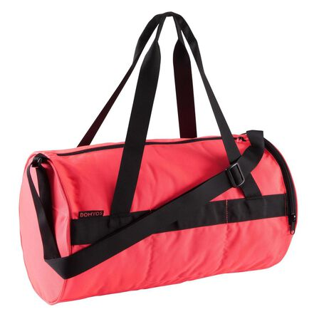DOMYOS - Small  Fitness Bag 20L, Fluo Coral Pink
