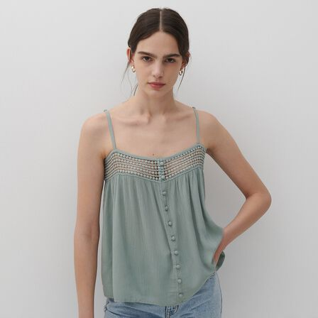 Reserved - Turquoise Viscose Top, Women