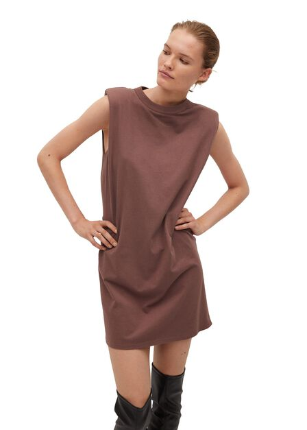 Mango - Brown Shoulder Pad Dress
