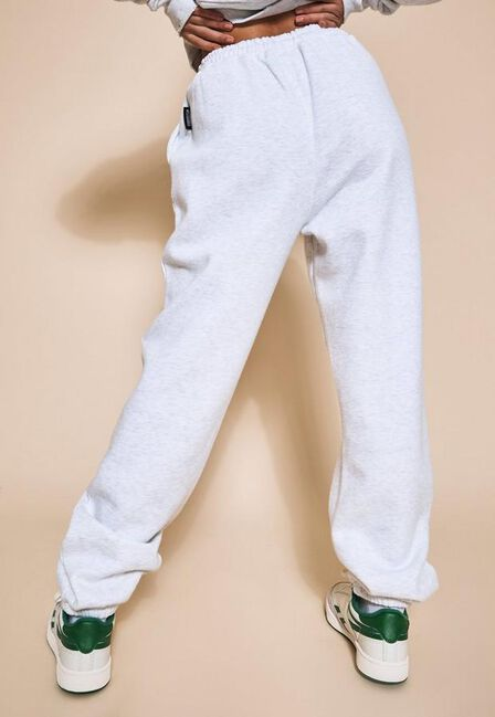 Missguided - Grey Playboy X Missguided Marl Varsity Pin Tuck Joggers