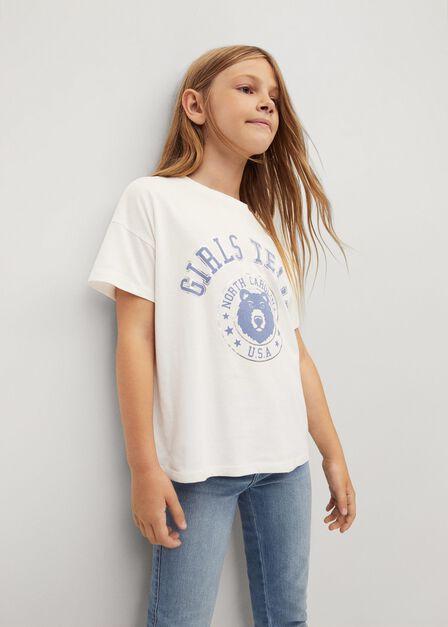 Mango - natural white Printed cotton-blend T-shirt, Kids Girl