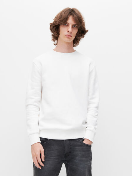 Reserved - White Minimalist Style Sweatshirt, Men