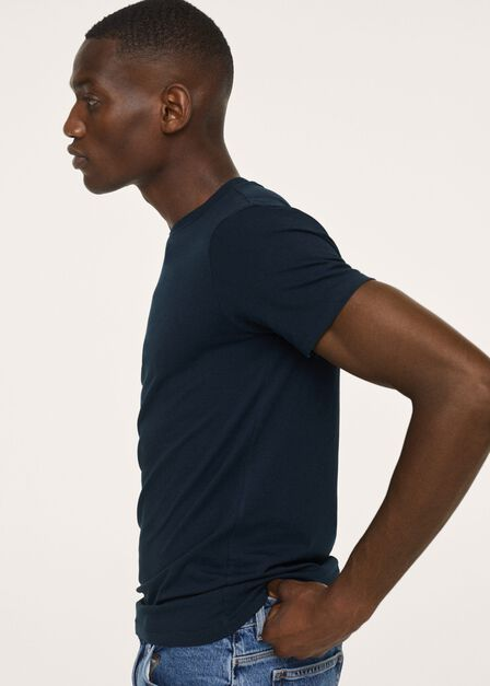 Mango - Navy Stretch Cotton T-Shirt, Men