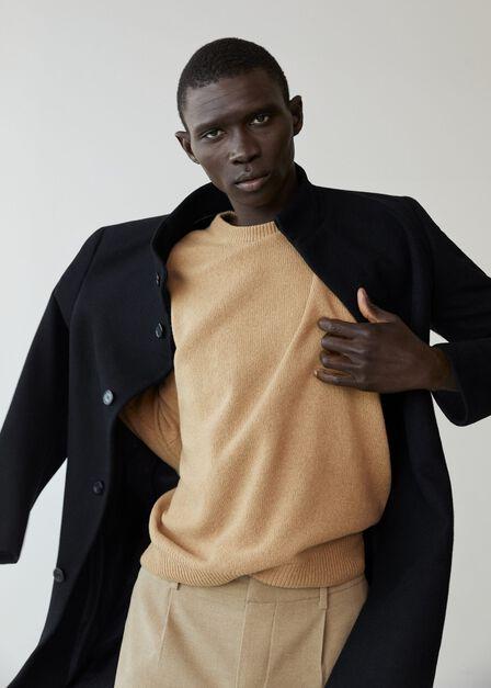 Mango - black Tailored wool-blend overcoat