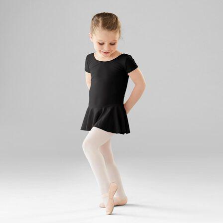 DOMYOS - 4-5 Years  Girls' Ballet Skirted Leotard, Black