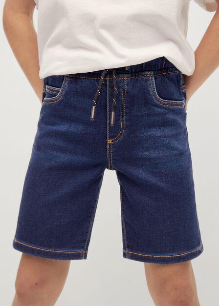 Mango - open blue Elastic waist denim Bermuda shorts, Kids Boy