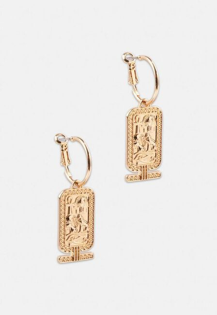 Missguided - Gold Gold Look Tag Hoop Earrings