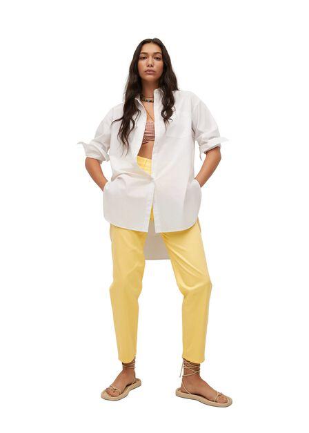 Mango - yellow Straight cotton trousers, Women