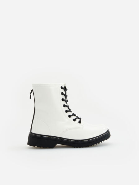 Reserved - White Patent Leather Boots, Kids Girl