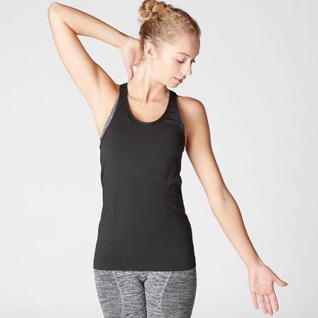 DOMYOS - Large  Women's Seamless Dynamic Yoga Tank Top, Black