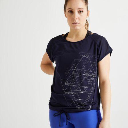 DOMYOS - M/L  Women's Cardio Fitness T-Shirt 120 - /Printed, Asphalt Blue
