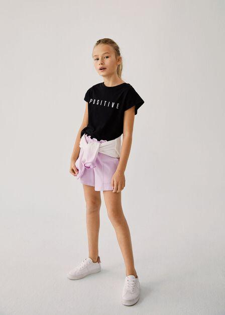 Mango - lt-pastel purple Paper bag knitted shorts