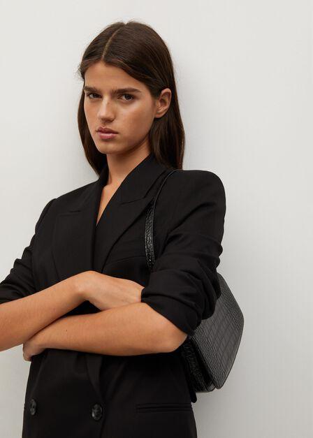 Mango - Black Croc-Effect Baguette Bag