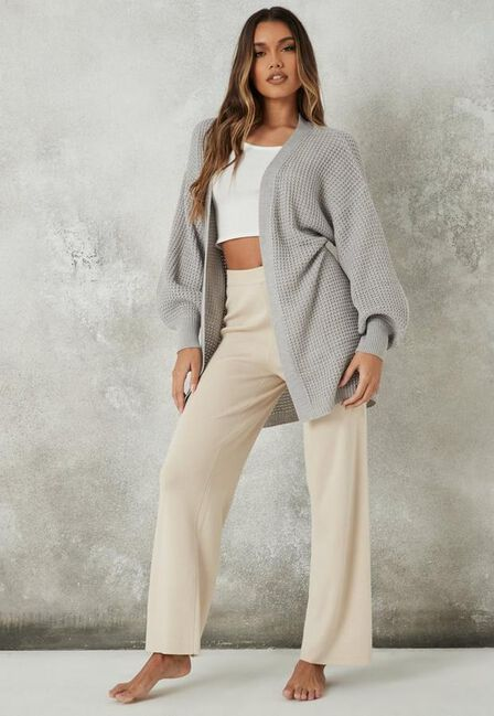 Missguided - Grey Belted Balloon Sleeve Knitted Cardigan