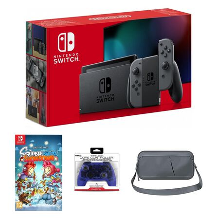 NINTENDO - Nintendo Switch Grey Joy-Con + Scribblenauts Showdown + Nyko Core Blue Wireless Controller + Sparkfox Travel Bag