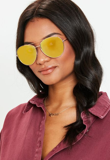 Missguided - Reflective Coloured Lens Sunglasses