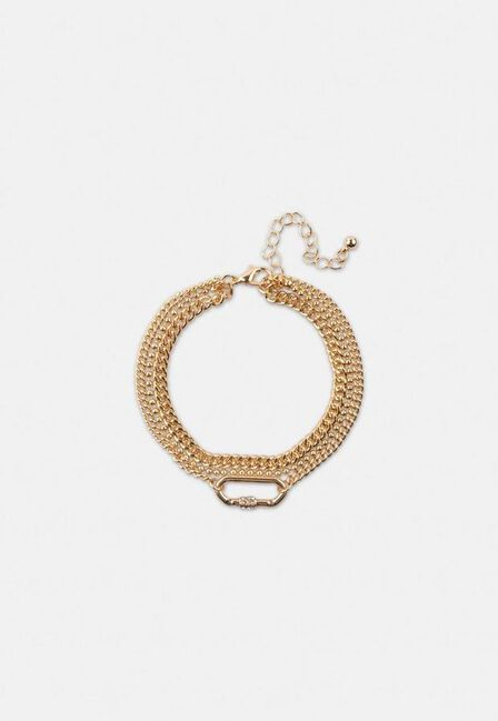 Missguided - Gold Gold Look Multi Row Carabiner Bracelet