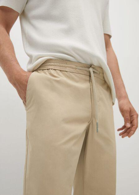 Mango - light beige Tencel cotton joggers, Men