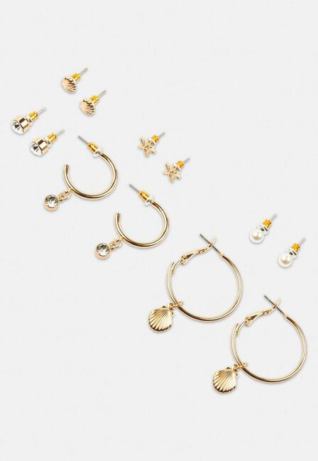 Missguided - Gold Gold Look Seashell Mix Earring Multipack