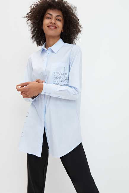 Mohito -  Cotton Shirt With Slogans - Blue